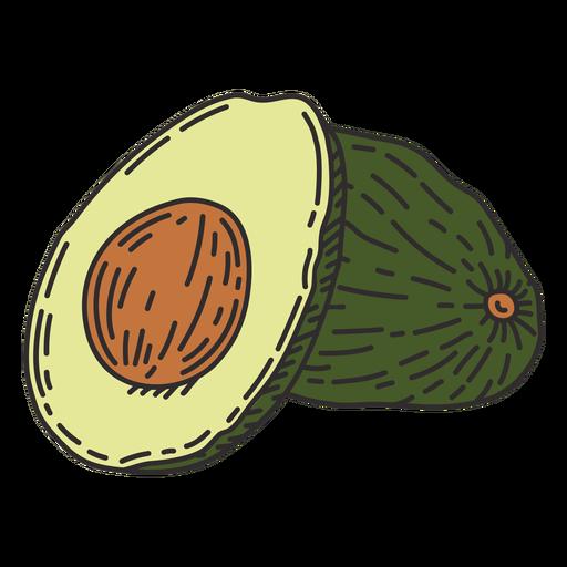 Avocado detailed color stroke
