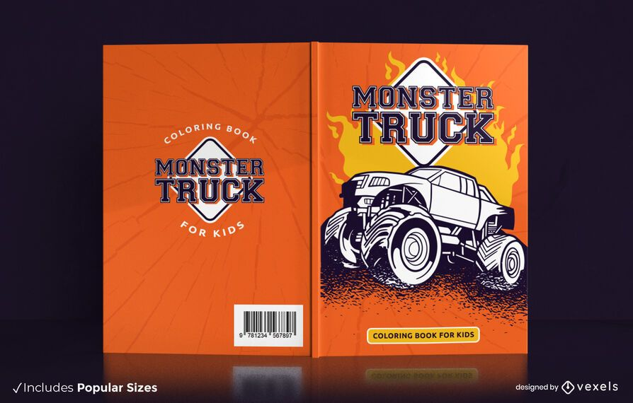 Monster truck coloring book cover design