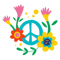 Peace sign and flowers flat