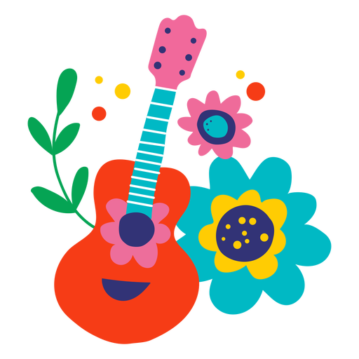 Guitar and flowers flat