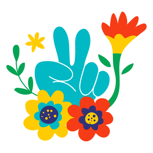 Flowers and peace sign flat