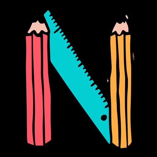 School supplies alphabet N color stroke