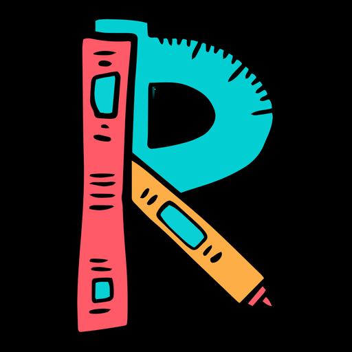 School supplies alphabet R color stroke