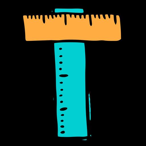 School supplies alphabet T color stroke