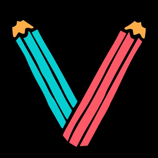 School supplies alphabet V color stroke