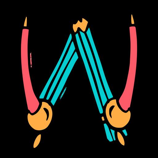 School supplies alphabet W color stroke