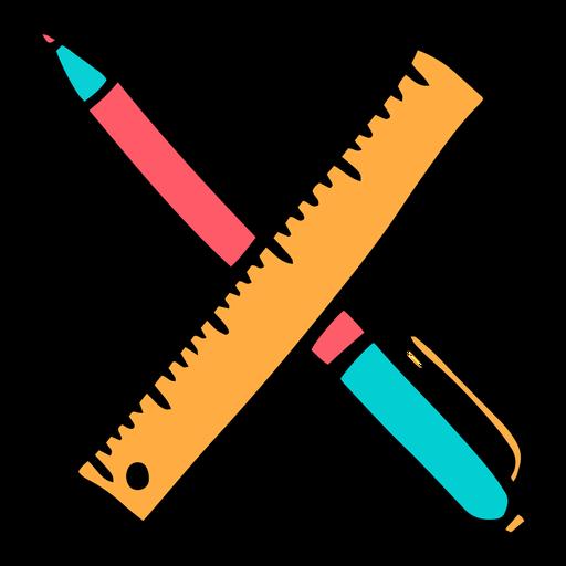 School supplies alphabet X color stroke