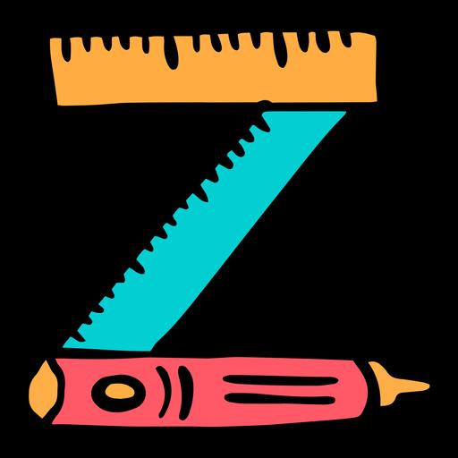 School supplies alphabet Z color stroke
