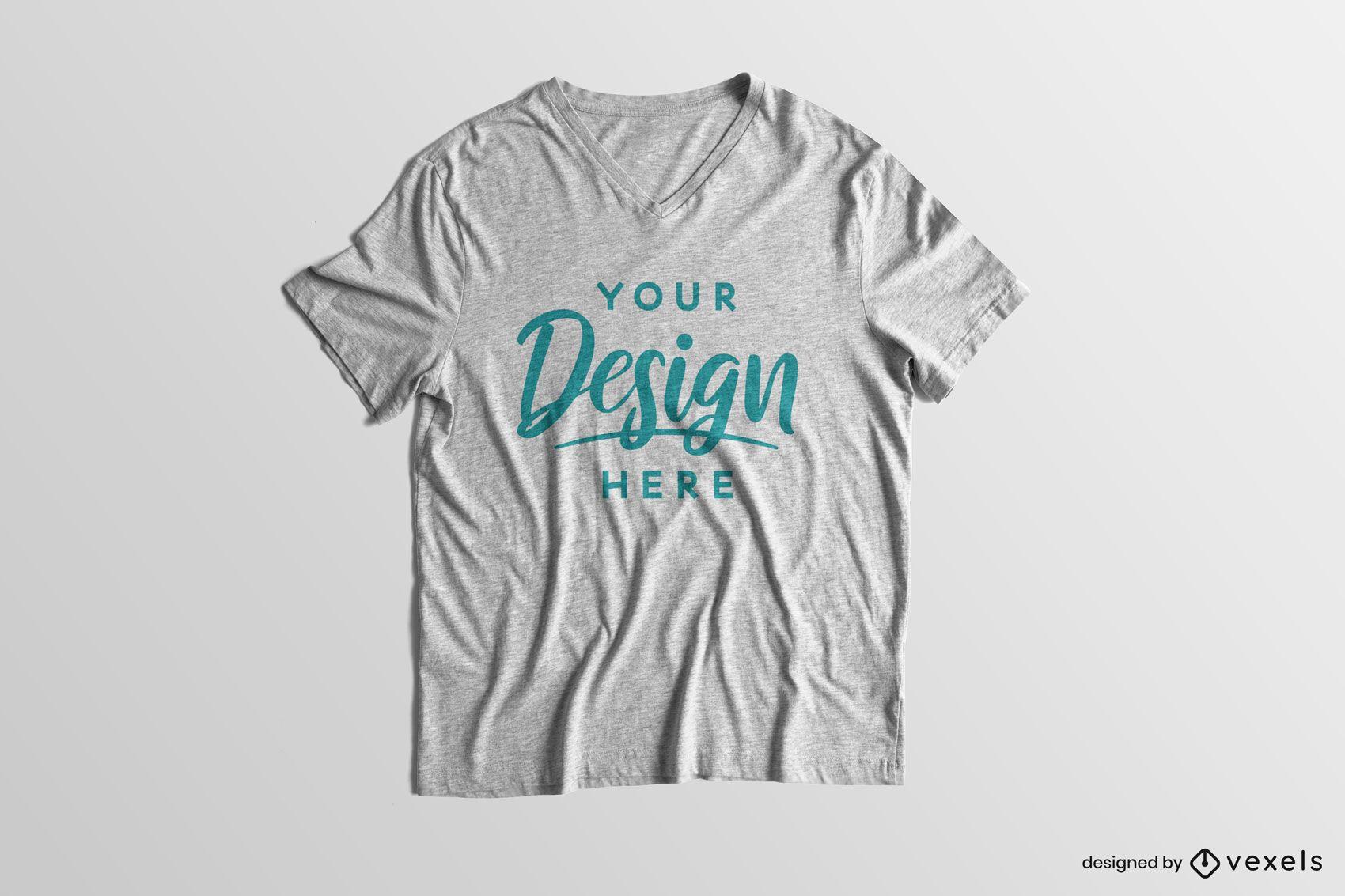 Maqueta de camiseta corta de fondo sólido
