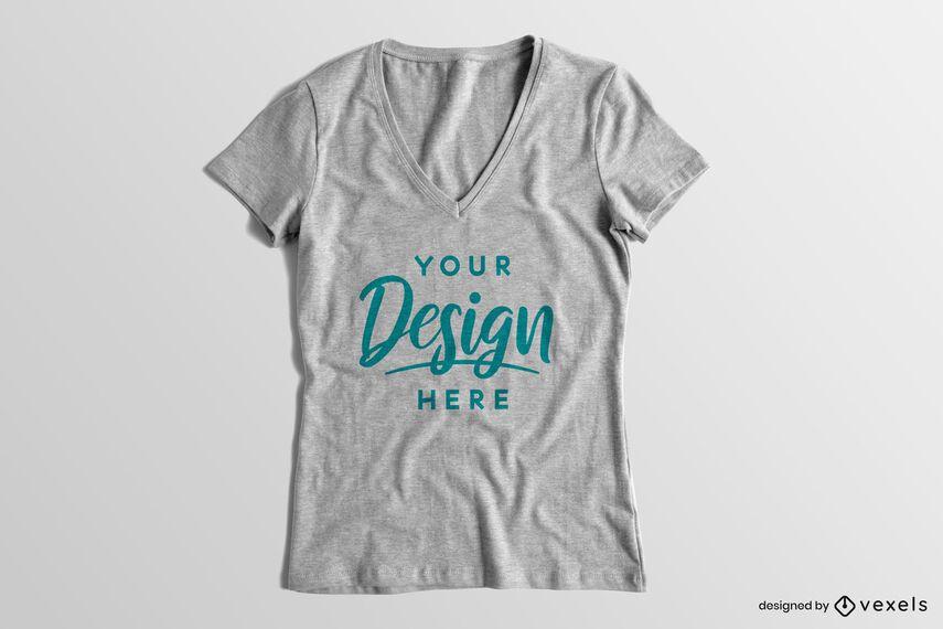 V-neck solid background t-shirt mockup