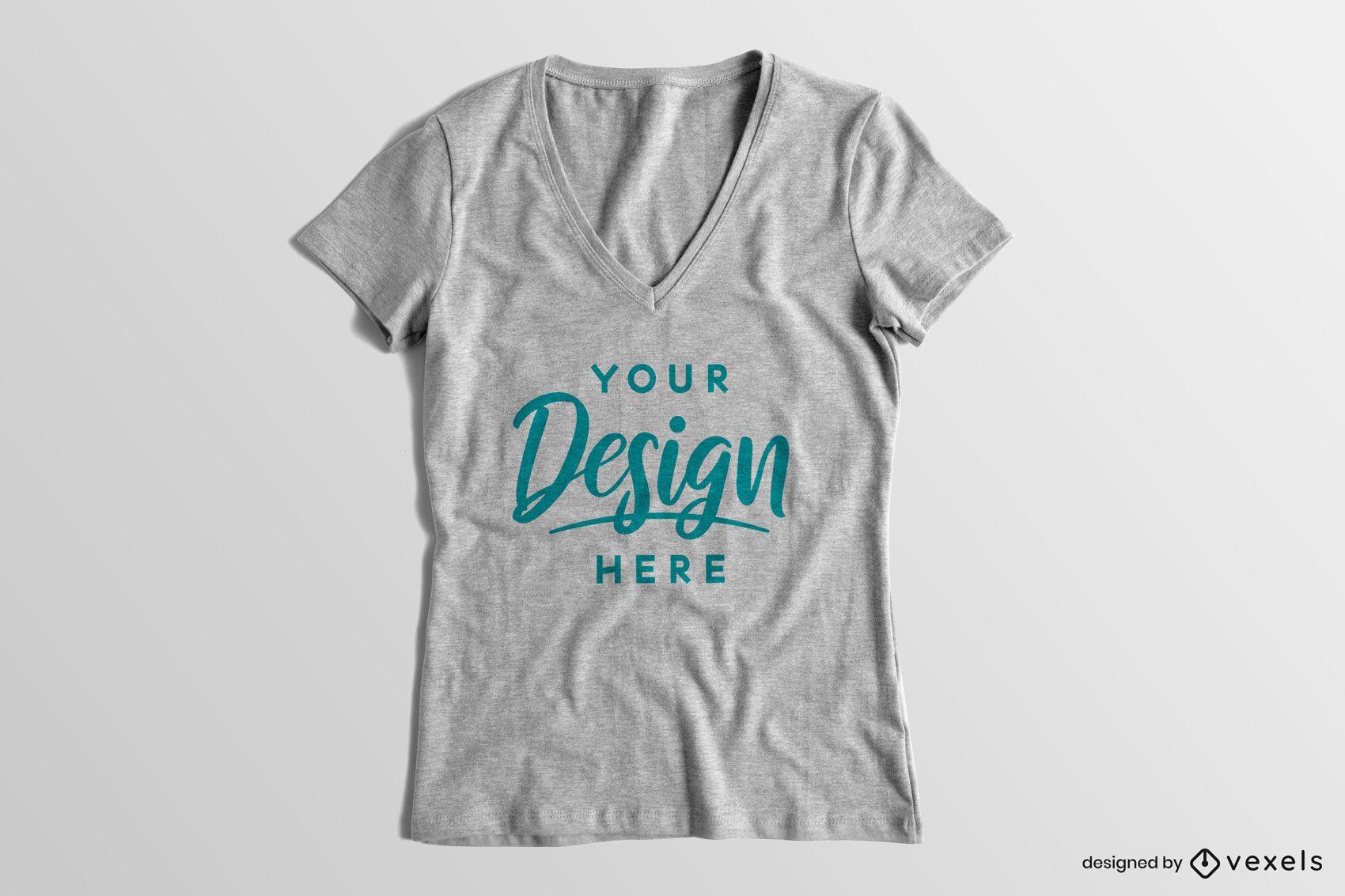 Maquete de camiseta sólida com decote em V