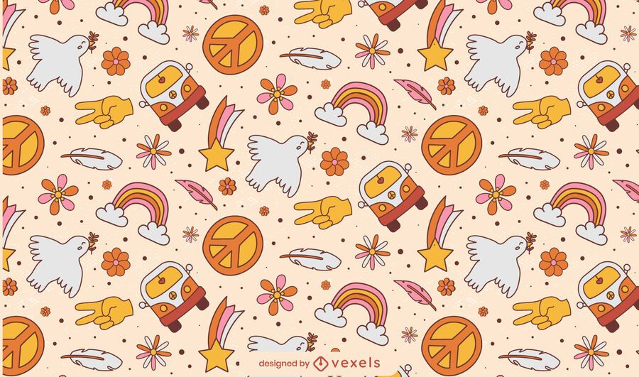 Hippy peace day doodle pattern design