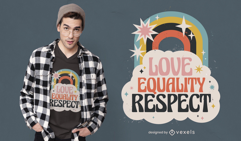 Design de camiseta com arco-íris de amor para o Dia da Paz