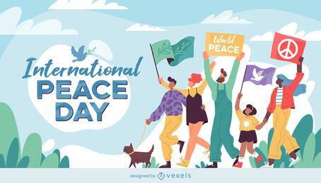 Ilustración de la marcha del día internacional de la paz