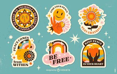 Conjunto de pegatinas retro hippy del día de la paz