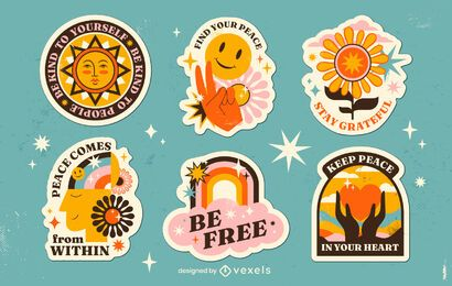 Retro Hippie Friedenstag Aufkleber Set