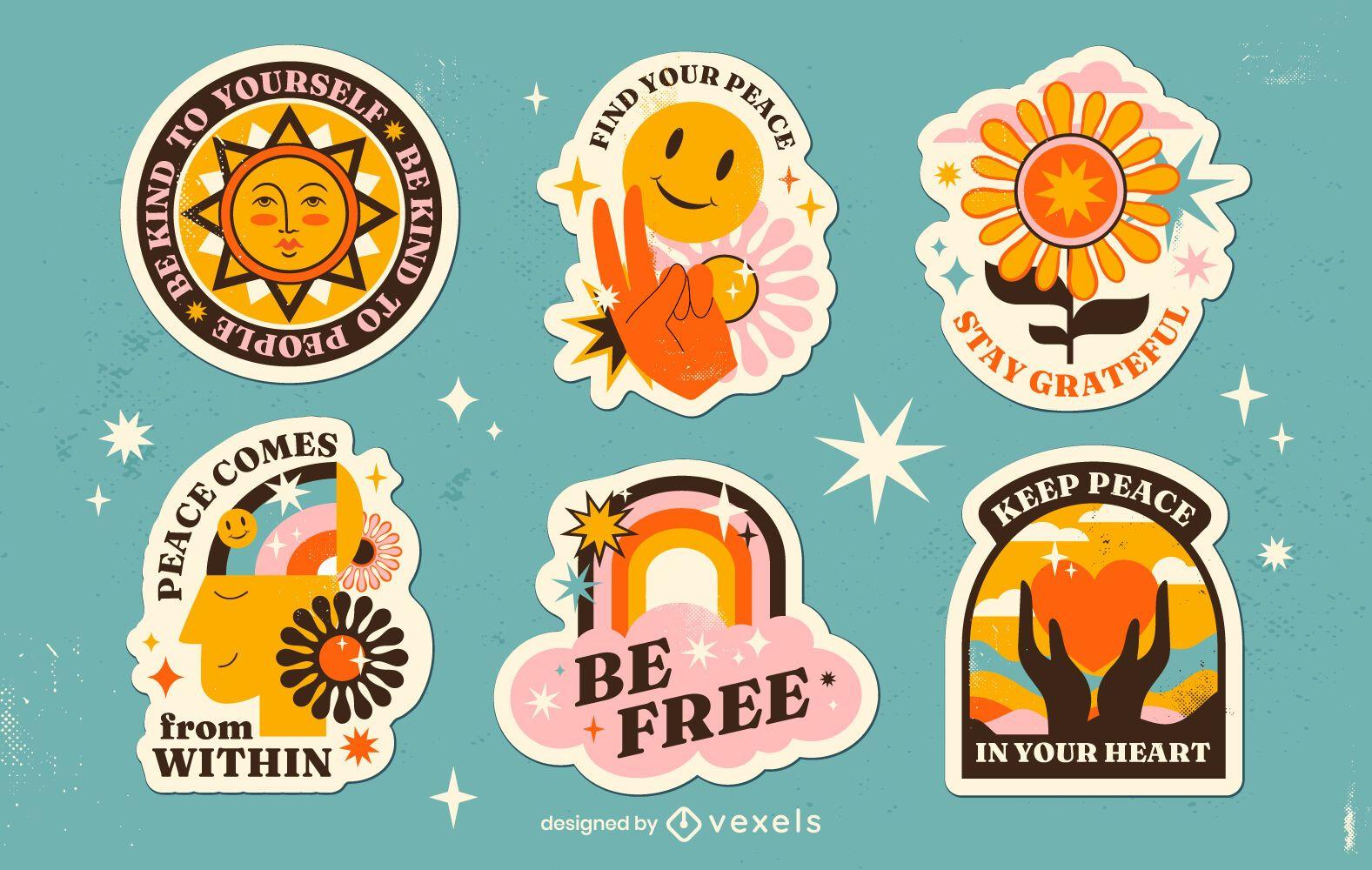 Conjunto de adesivos retrô hippie do dia da paz