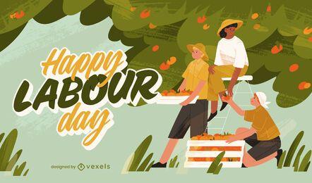 Ilustración de trabajo de agricultores del día del trabajo