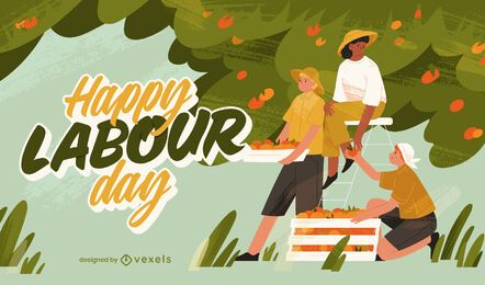 Labour day farmers work illustration