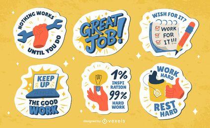 Labor day holiday badges sticker set