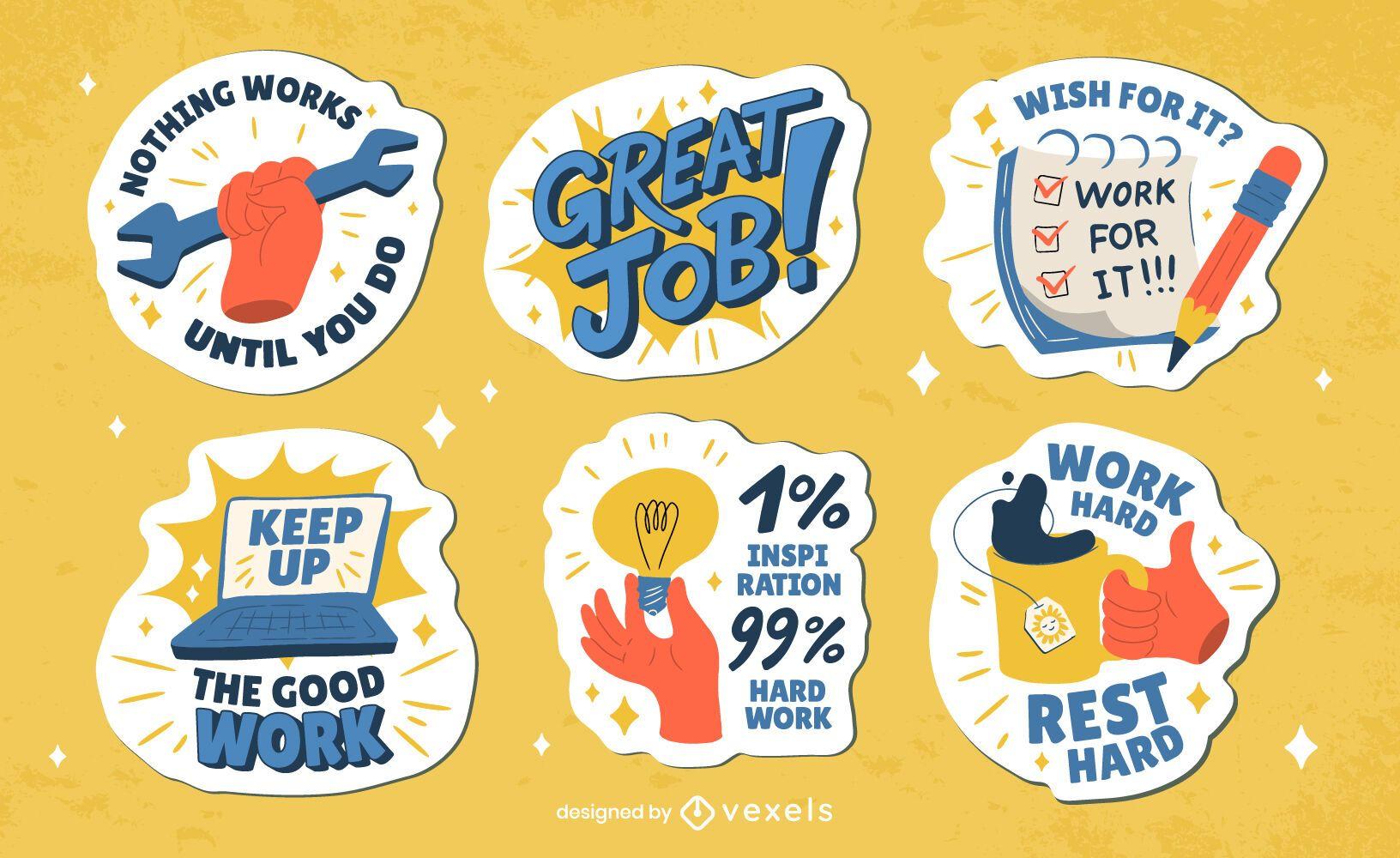 Conjunto de adesivos de emblemas de feriado do Dia do Trabalho