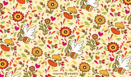 Diseño floral del patrón del doodle del día de la paz