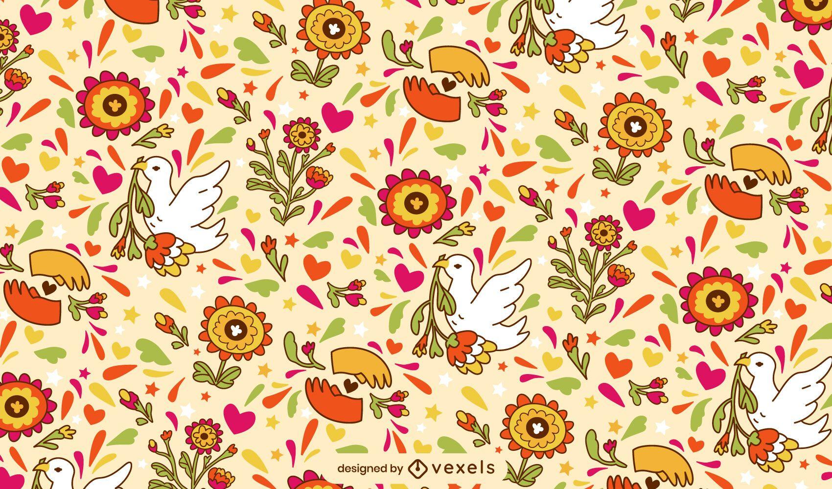 Peace day floral doodle pattern design