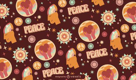 Diseño de patrón retro hippy del día de la paz