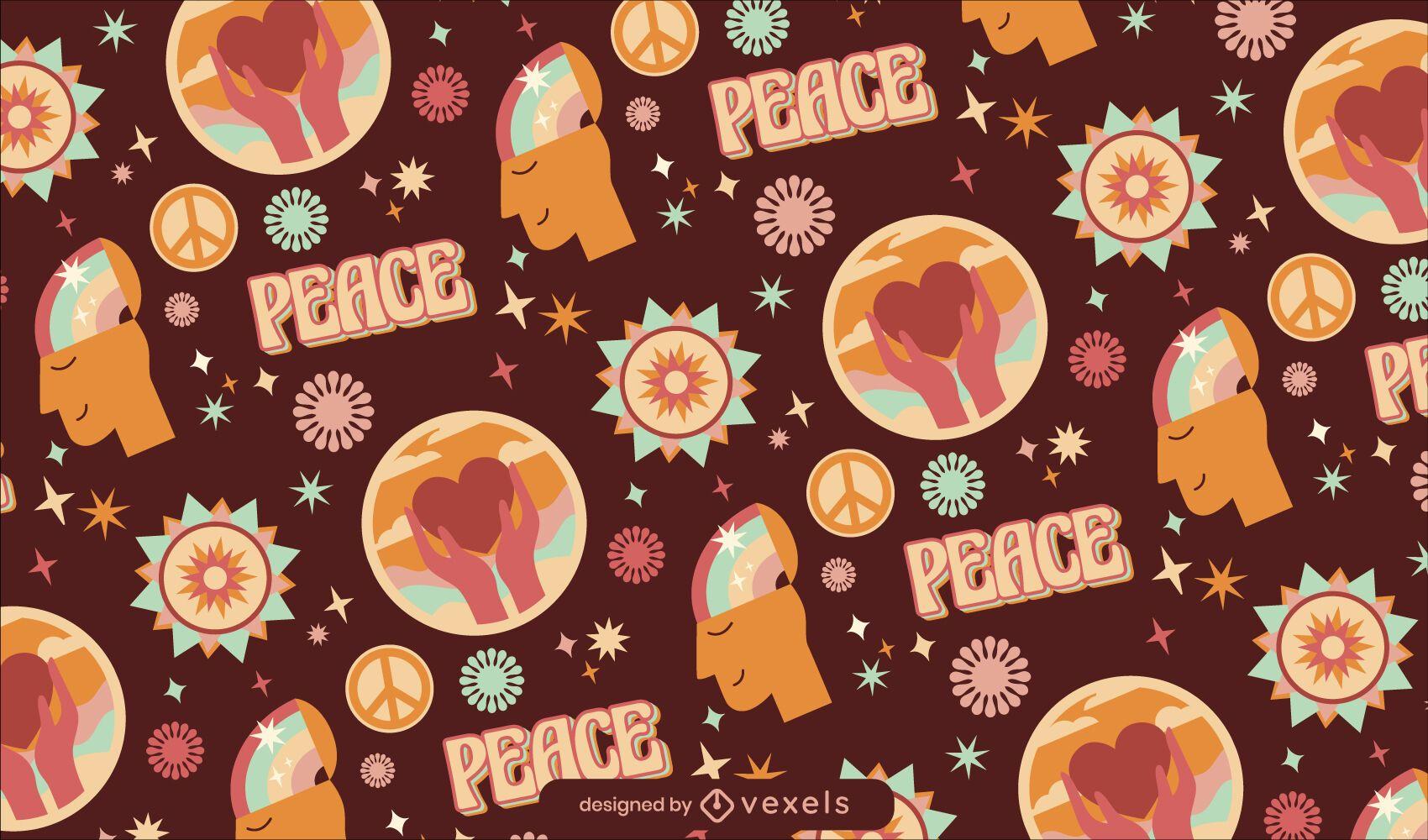 Design de padrão retrô hippie do dia da paz