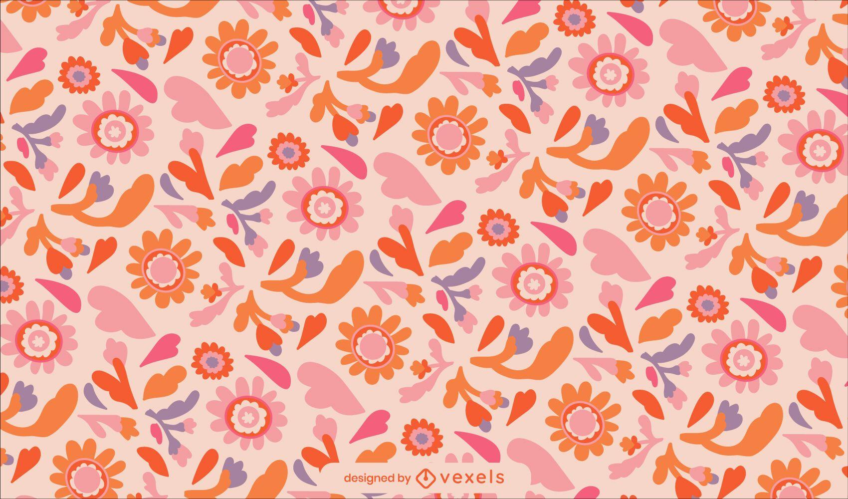 Diseño de patrón de naturaleza floral del día de la paz