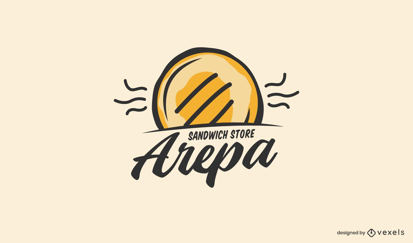 Design de logotipo arepa doodle de loja de alimentos
