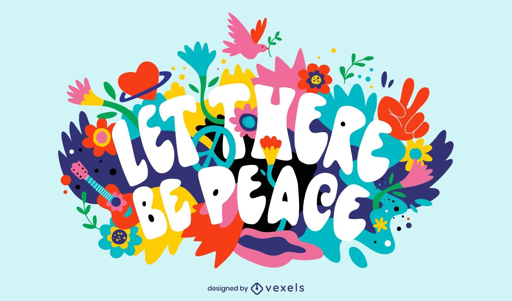 Peace day floral colorful illustration