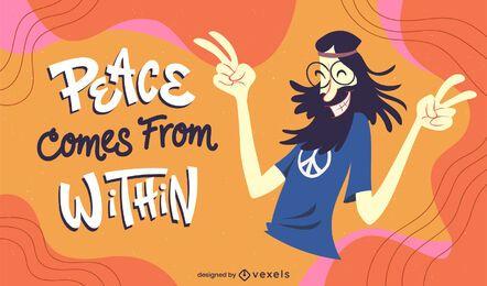 Hippie-Charakterillustration des Friedenstages