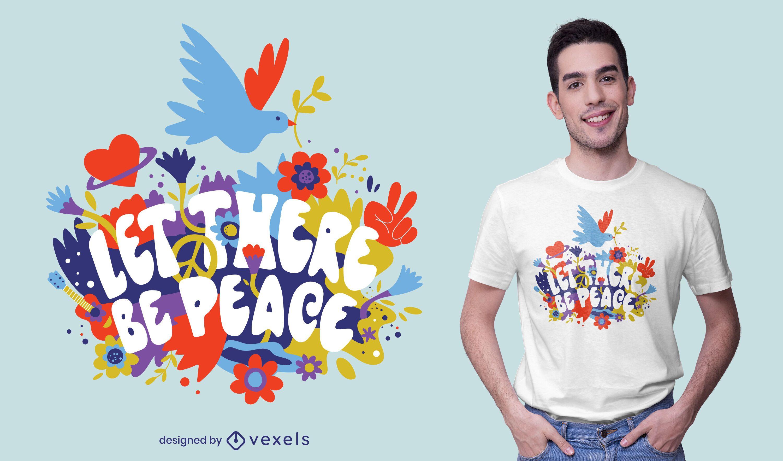 Diseño de camiseta de cita floral del día de la paz