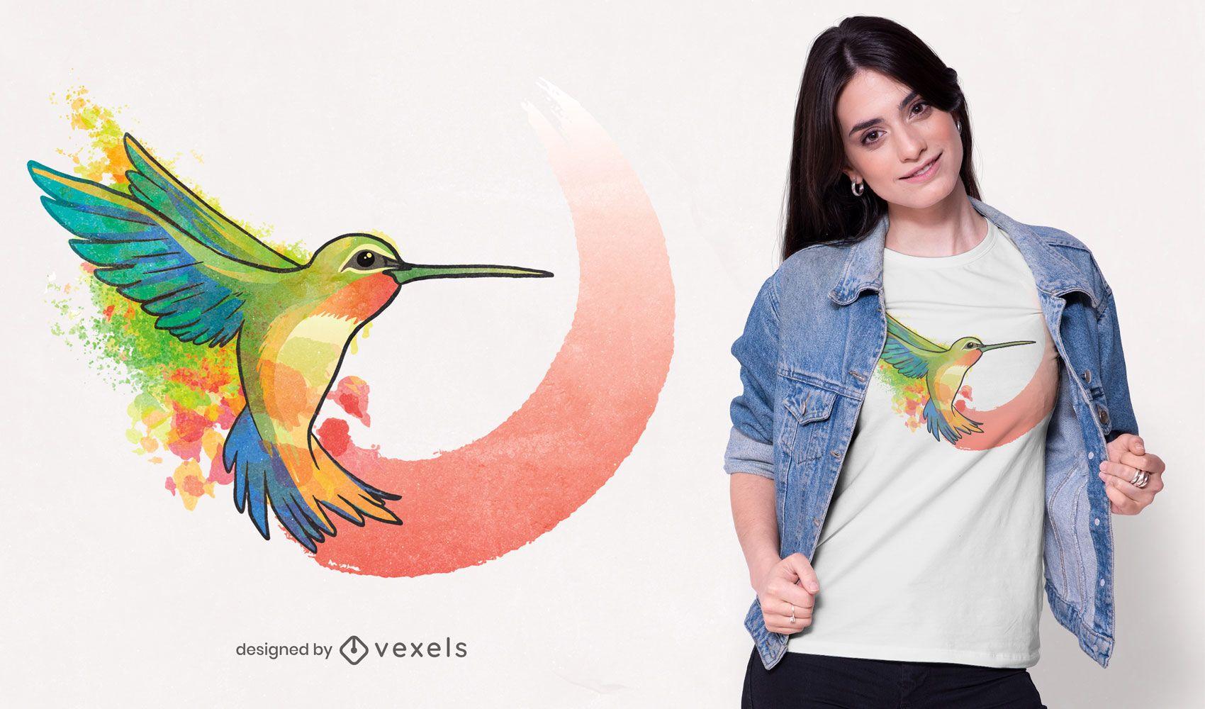 Watercolor hummingbird t-shirt design