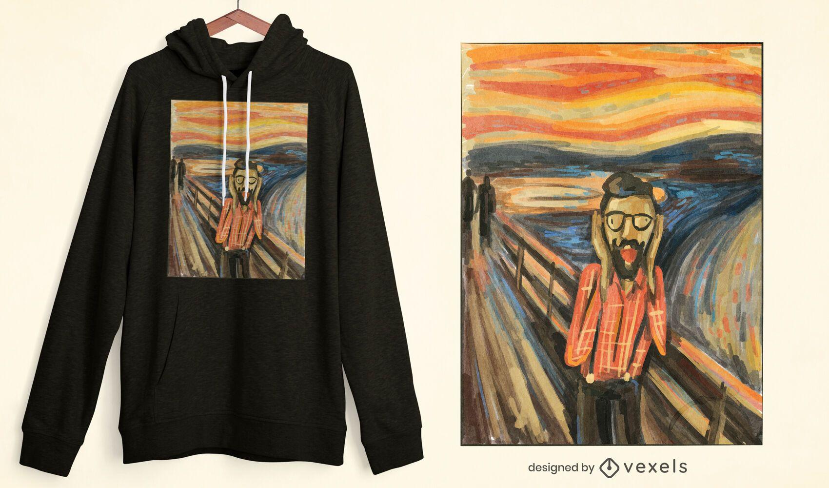 Design de t-shirt Hipster Scream