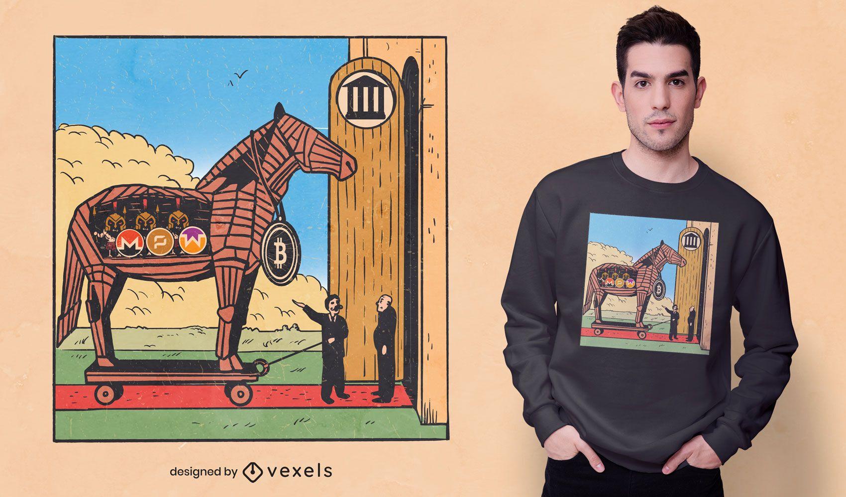 Bitcoin trojan horse t-shirt design