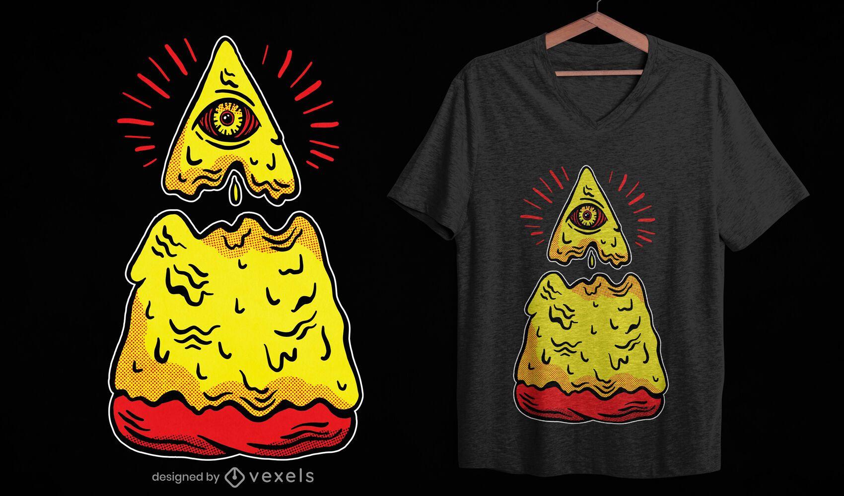Diseño de camiseta de pizza slice illuminati