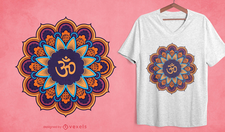 Design de t-shirt com flores coloridas de mandala