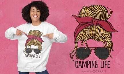 Camping Leben Frau T-Shirt Design