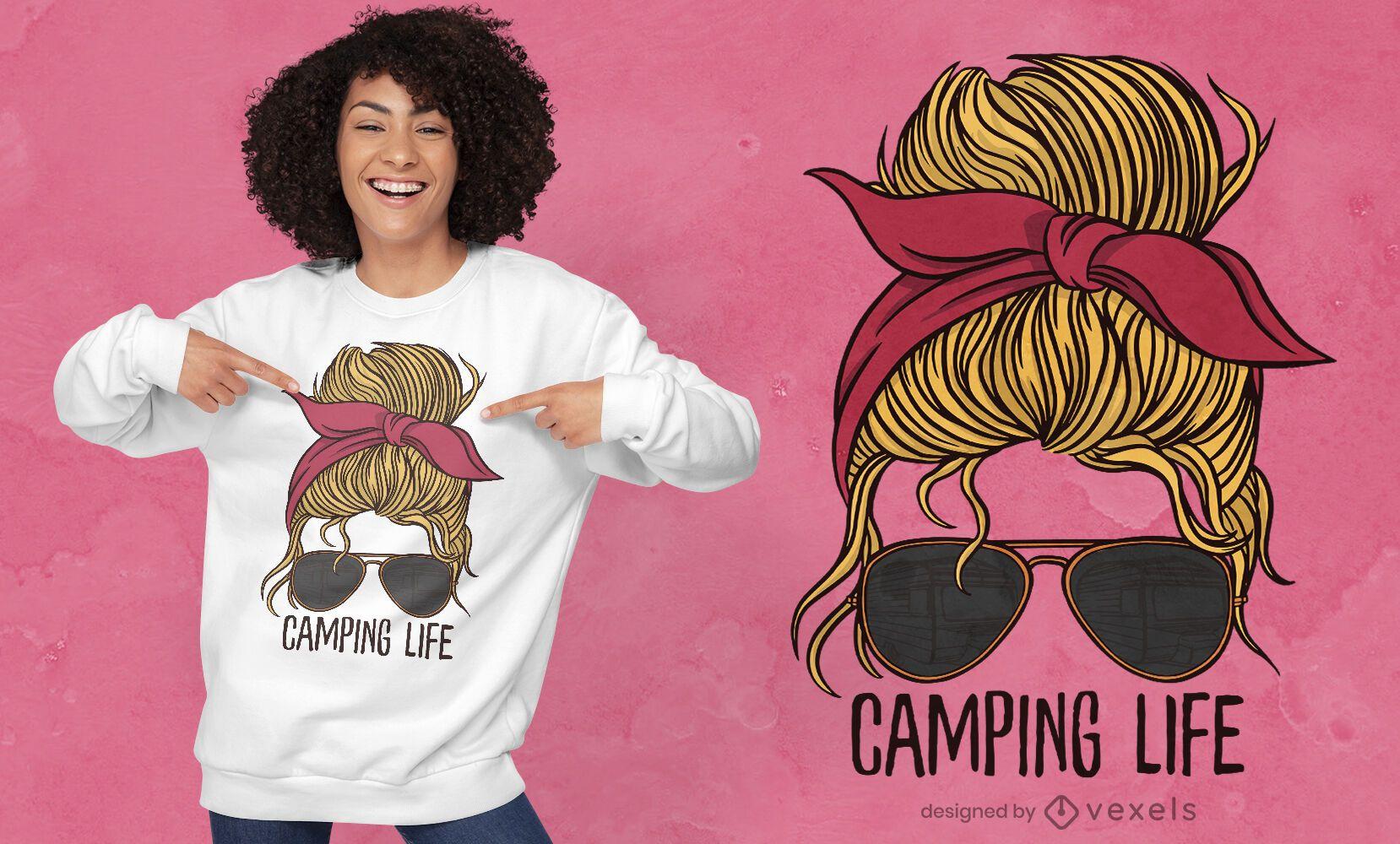Diseño de camiseta de mujer de camping life.
