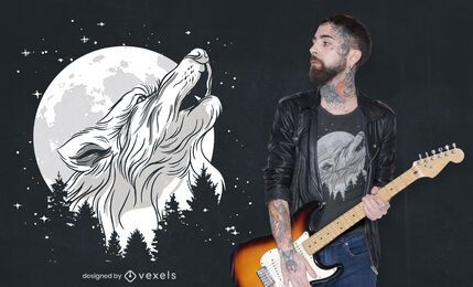 Wolf howling in forest t-shirt design
