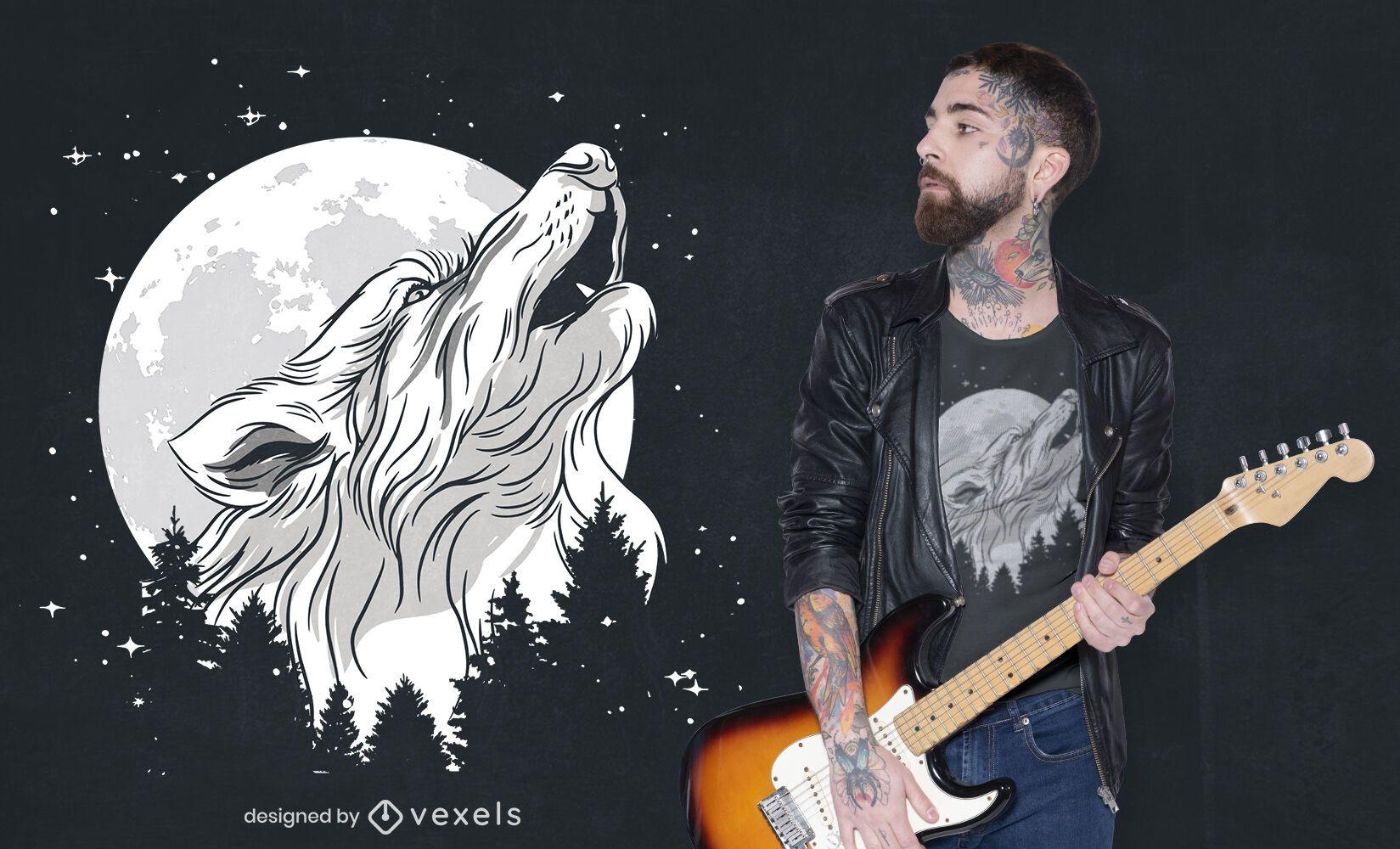 Diseño de camiseta de lobo aullando en el bosque