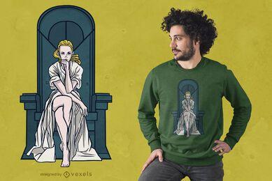 Mulher loira no trono com design de camiseta