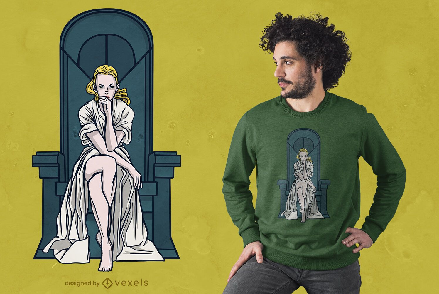 Diseño de camiseta de mujer rubia en trono
