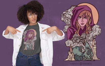 Diseño de camiseta de fantasía de niña bruja.