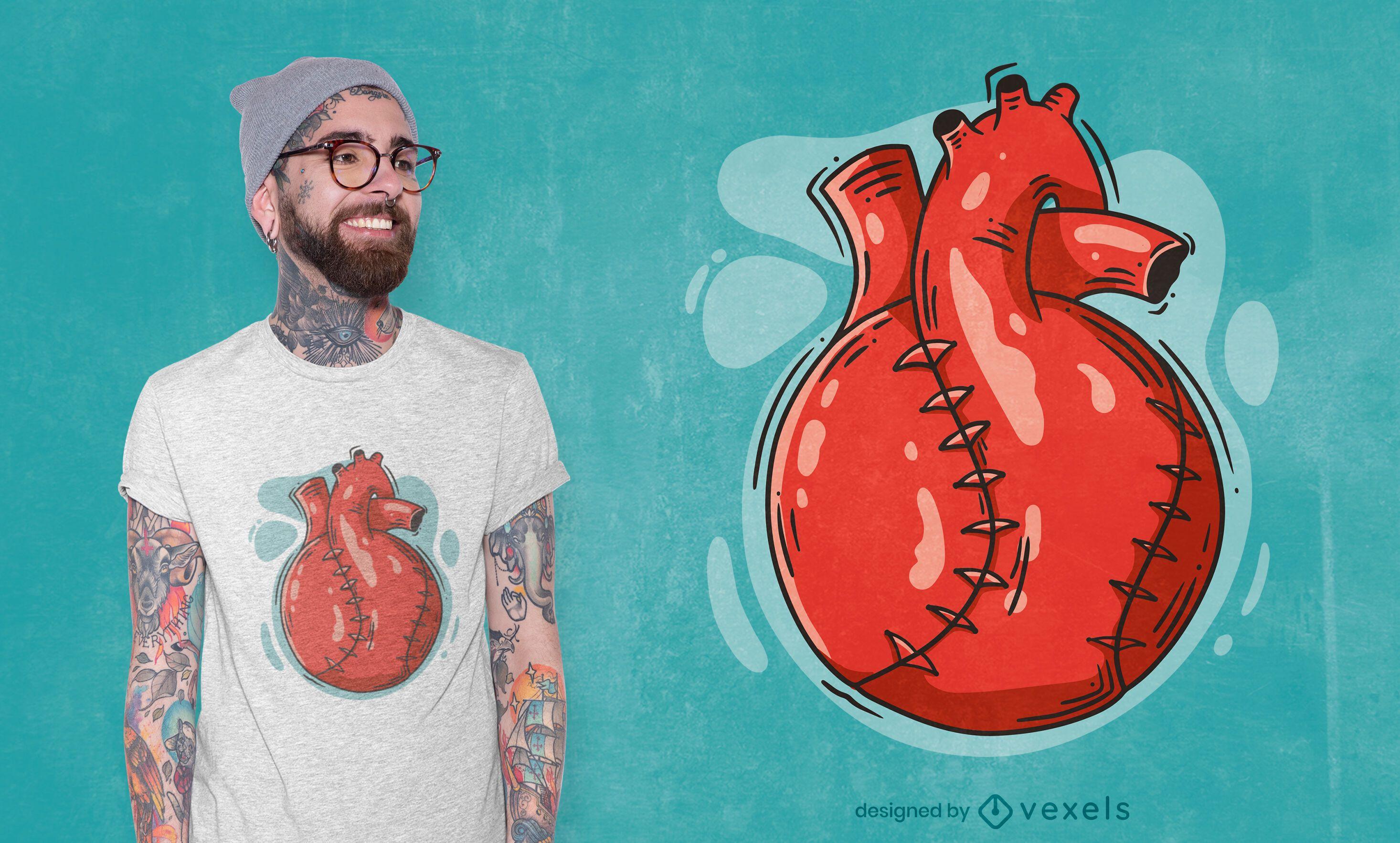 Diseño de camiseta de bola con forma de corazón