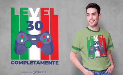 Diseño de camiseta de joystick con bandera italiana.