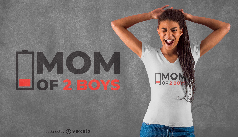 Design engraçado de camiseta com bateria fraca para mamãe