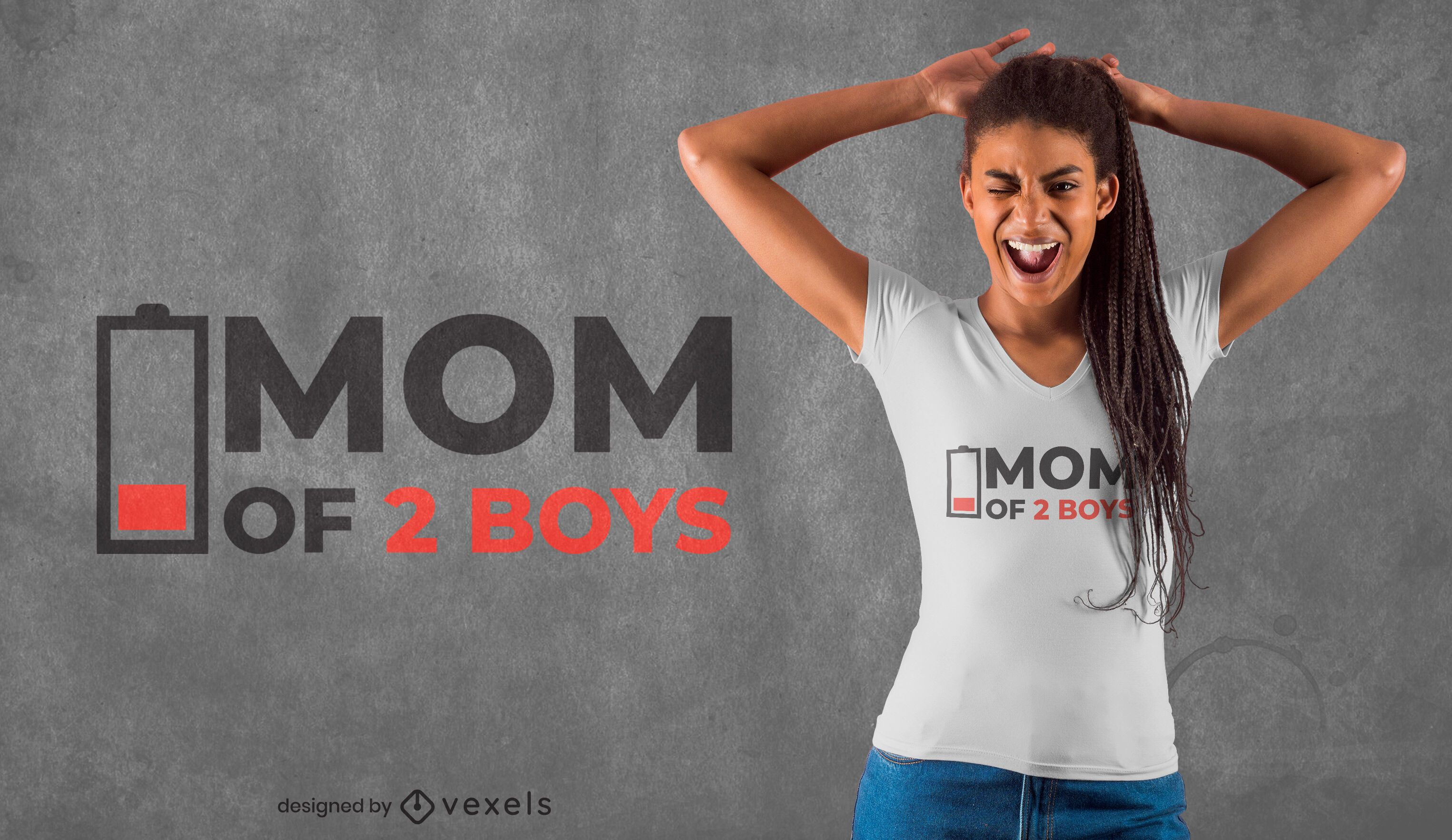 Funny mom quote low battery t-shirt design